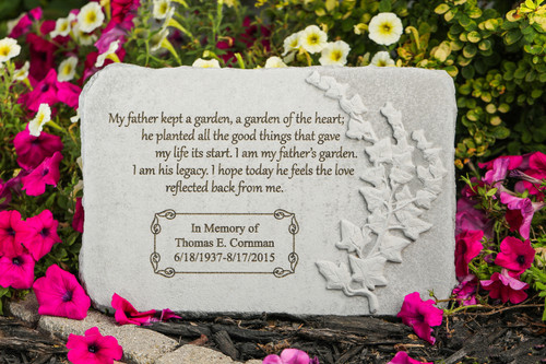 """My father kept a garden..."" 15"" x 10"" Rectangle Personalized Memorial Stone"