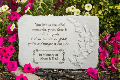 """You left us beautiful memories..."" 15"" x 10"" Rectangle Personalized Memorial Stone"