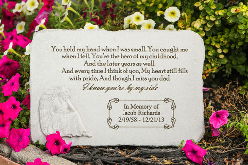 """You held my hand..."" Rectangle with Angel Personalized Memorial Stone 15.25"" x 10.5"""