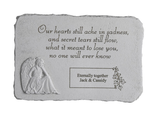 """Our hearts still ache in sadness..."" Rectangle with Angel Personalized Memorial Stone 15.25"" x 10.5"""