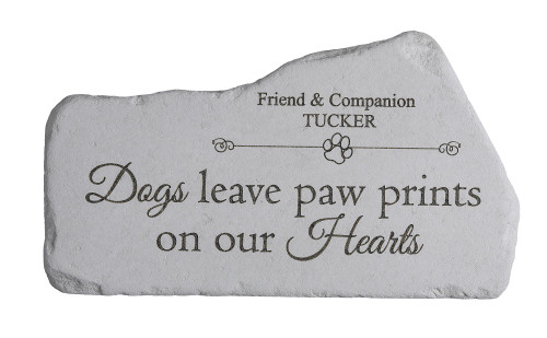 """Dogs leave paw prints..."" Personalized Memorial Stone 16.5"" x 9.25"""