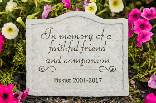 """In Memory of a Faithful Friend"" Personalized Memorial Stone 8"" x 6.75"""