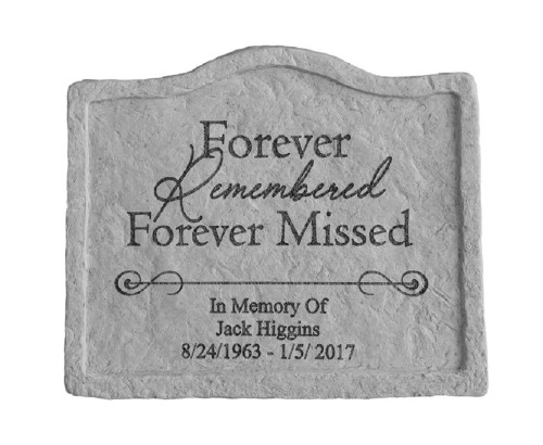 """Forever Remembered..."" Personalized Memorial Stone 8"" x 6.75"""