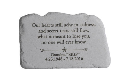 """Our hearts still ache..."" Personalized Memorial Stone 11"" x 7"""