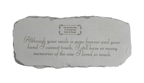"""Personalized """"Although your smile is gone…"""" Medium Memorial Bench"""