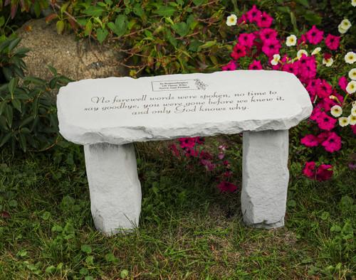 "Personalized ""No farewell words were spoken..."" Medium Memorial Bench"