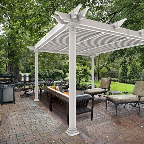 Preston Round Post Louvered Pergola (10' x 10')