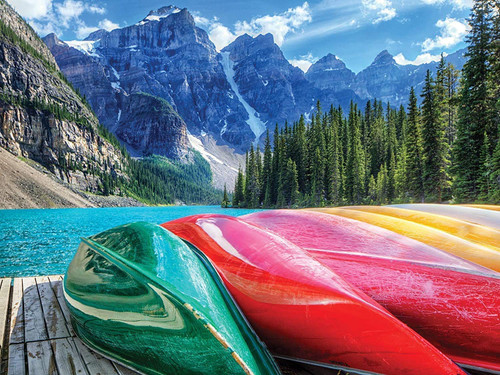 1000 Piece Puzzle for Adults: Mountain Lake Boats Jigsaw Puzzle