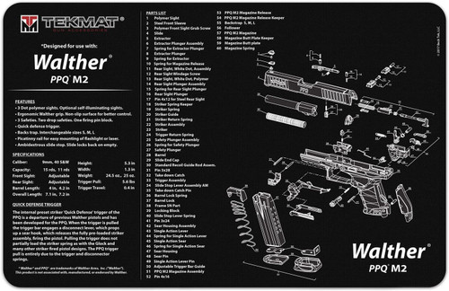 TekMat Cleaning Mat for use with Walther PPQ M2 , Black