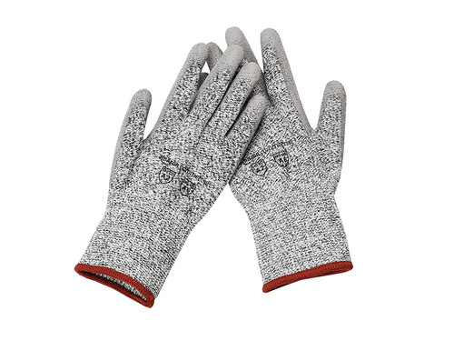 AmazonCommercial 13G HPPE & PU Coated Gloves (Salt & Pepper/Grey), Size S, 1 Pair