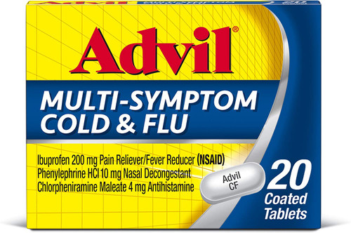 Advil Multi Symptom Cold and Flu Medicine, Cold Medicine for Adults with Ibuprofen, Phenylephrine HCL and Chlorpheniramine Maleate - 20 Coated Tablets
