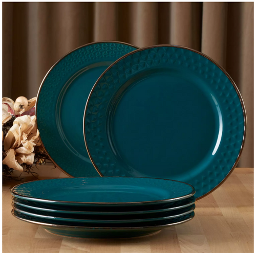 MM  Textured Plates, Set of 6 - Teal