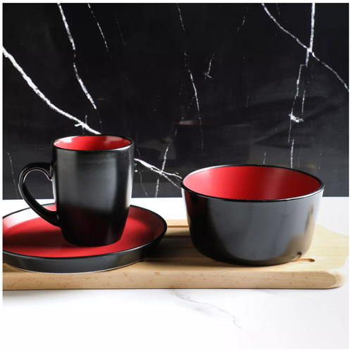 Stone Lain Two-Tone Modern 32-Piece Stoneware Dinnerware Set, Service for 8 (Red and Black)