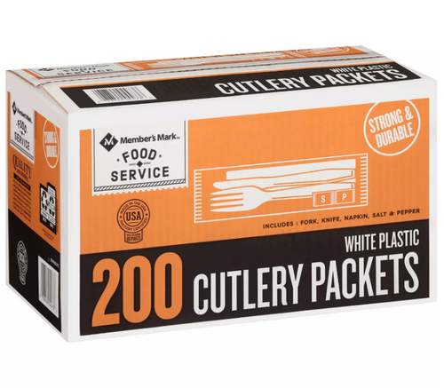 MM White Plastic Cutlery Packets (200 ct.)
