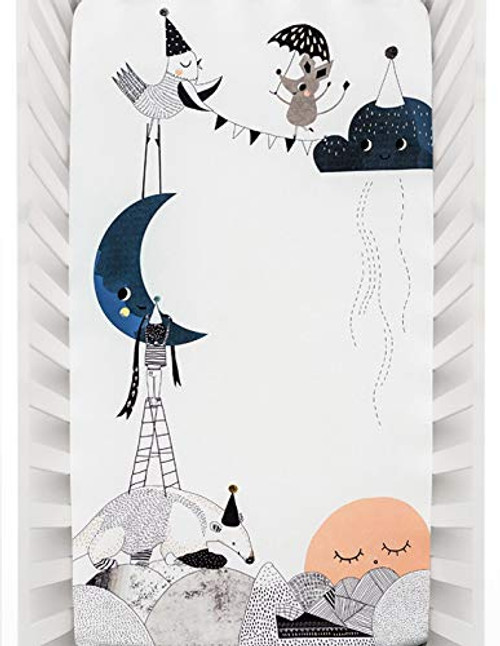 Rookie Humans 100% Cotton Sateen Fitted Crib Sheet: The Moon's Birthday. Modern Nursery, Use as a Photo Background for Your Baby Pictures. Standard Crib Size (52 x 28 inches)