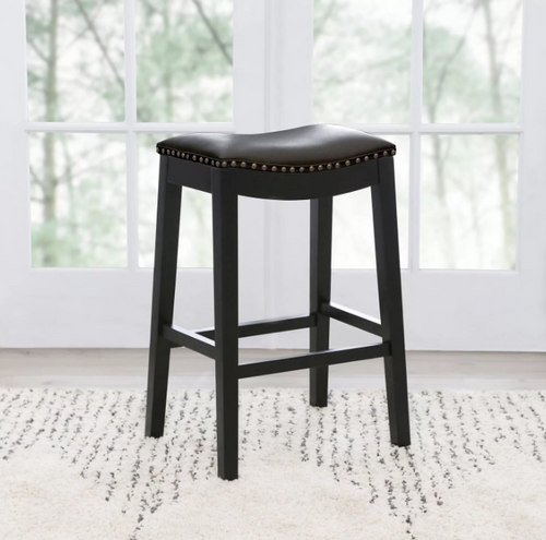 Abbyson Living - Chapin Bonded Leather Saddle Counter Stool BLACK