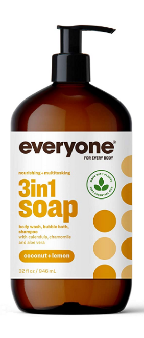 Everyone 3-in-1 Soap: Body Wash, Bubble Bath, and Shampoo, Coconut and Lemon, 32 Ounce