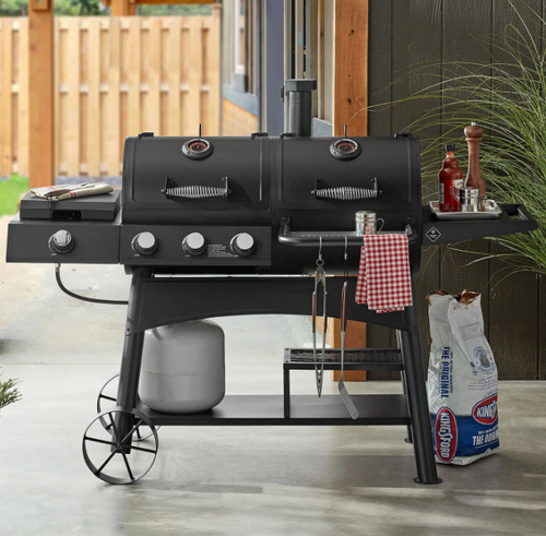 MM Charcoal & Gas Combo Grill with Sideburner Griddle