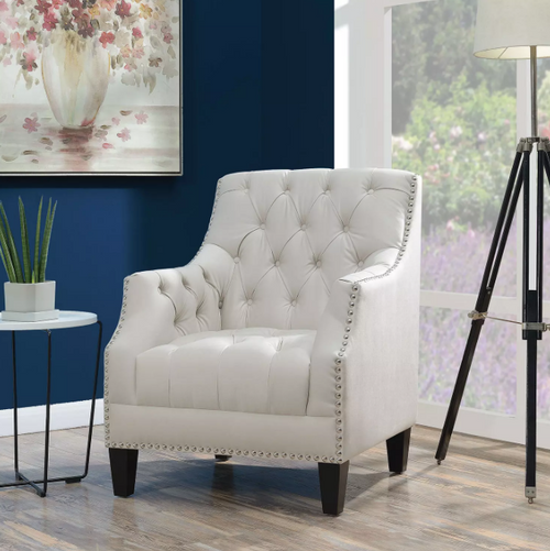 Perry Button-Tufted Accent Chair - Snow