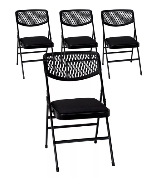 Cosco Commercial Padded Seat Folding Chair with Mesh Back - Black - 4-pack
