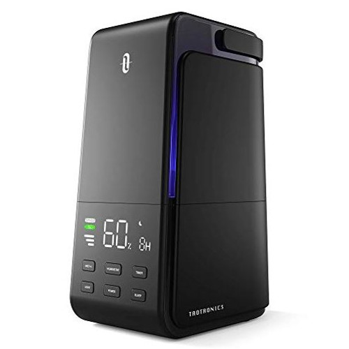 TaoTronics Humidifiers, 4L Ultrasonic Cool Mist Humidifier with Automatic Humidity Monitoring, Quiet Operation, LED Display, Easy to Clean and Fill, Sleep Mode for Bedroom/Living Room/Office, Black