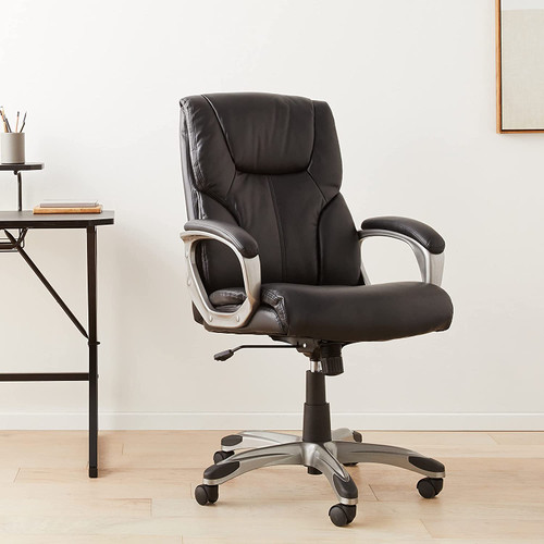 Basics High-Back Executive, Swivel, Adjustable Office Desk Chair with Casters, Black Bonded Leather