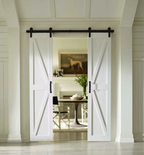 Four Seasons Outdoor Products Split Barn Door, Classic White Board and Batten 36x84
