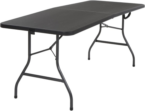 COSCO Deluxe 6 foot x 30 inch Fold-in-Half Blow Molded Folding Table - Black