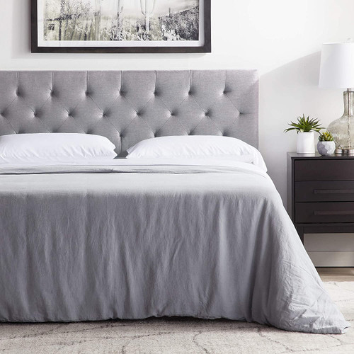 LUCID Mid-Rise Upholstered Headboard-Adjustable Height from 34 to 46, King/Cal King, Stone