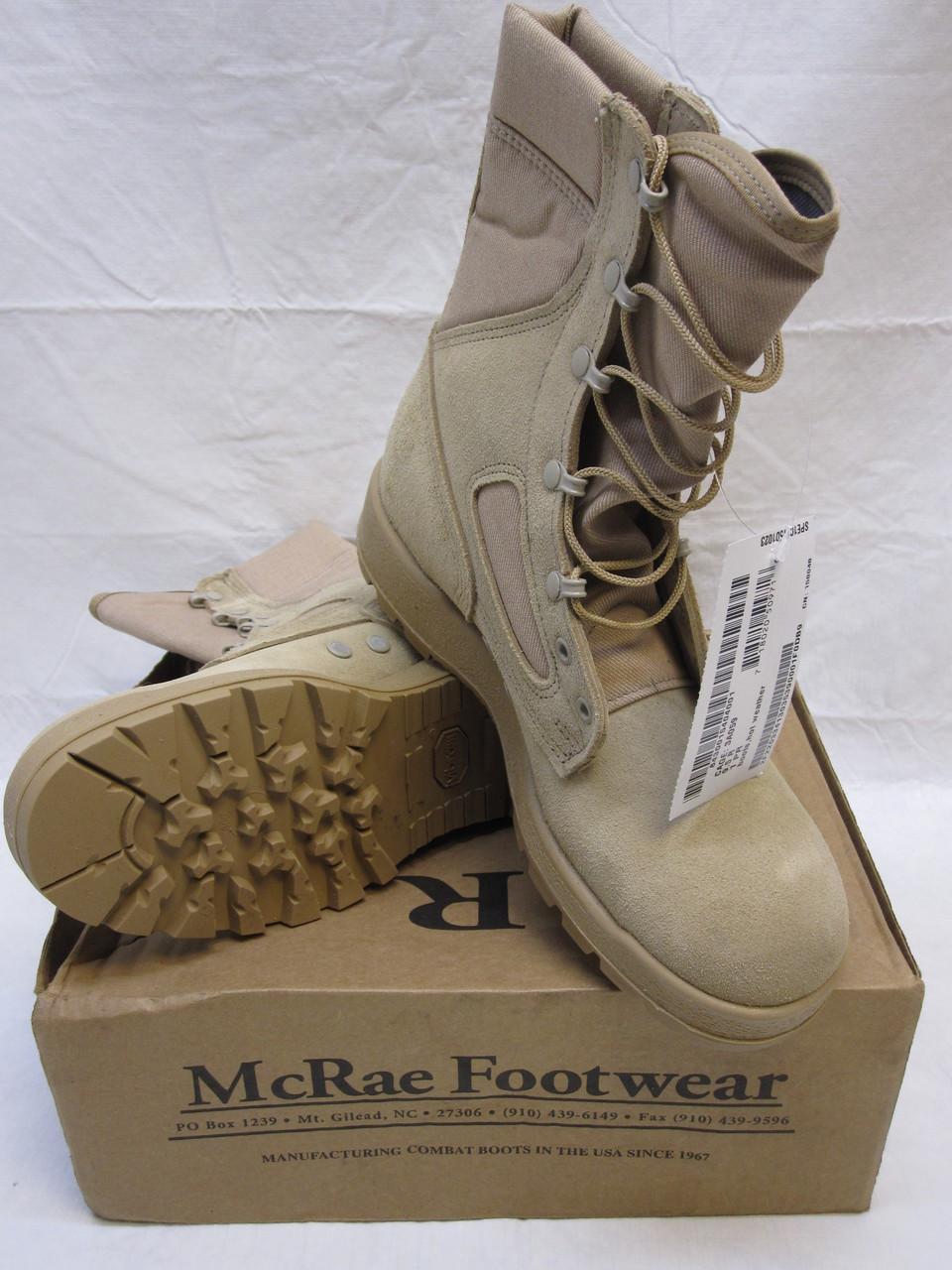 McRAE DESERT TAN ARMY COMBAT BOOTS HOT WEATHER VIBRAM SOLES  9.5 R