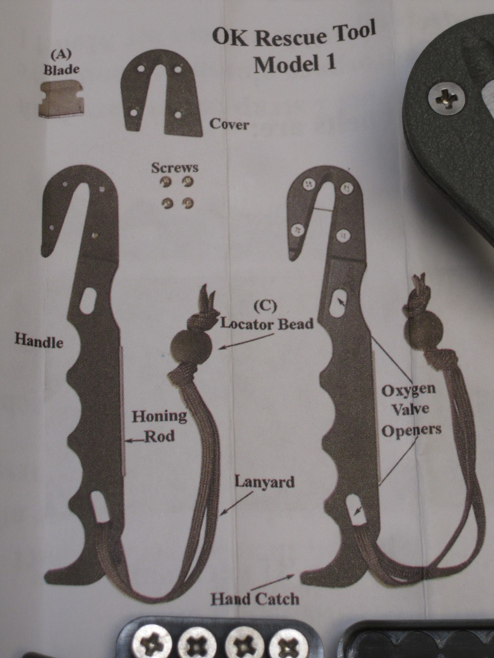 ONTARIO KNIFE STRAP/ SEAT BELT CUTTER W/ SHEATH FOLIAGE PARACHUTE KNIFE