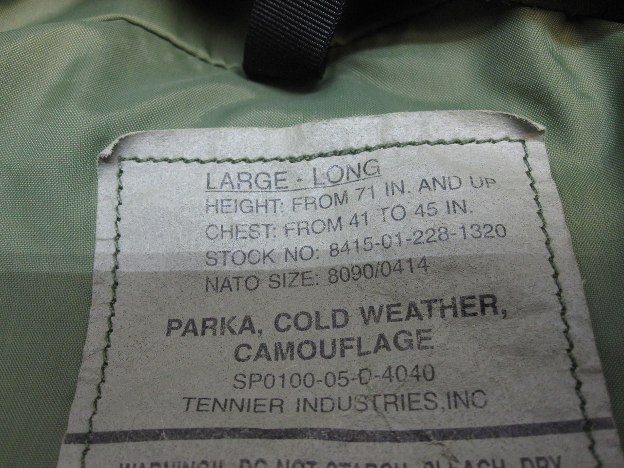 ARMY ISSUE WOODLAND BDU GORE-TEX JACKET WET/COLD WEATHER PARKA LARGE/LONG br