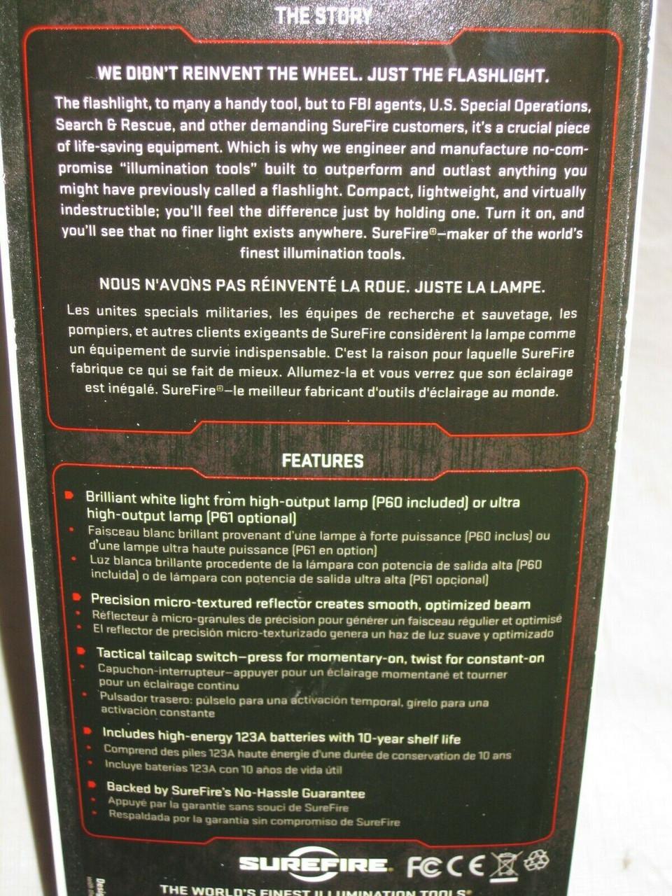 NEW SUREFIRE ORIGINAL CLASSIC 6P INCANDESCENT 65 LUMEN HANDHELD FLASHLIGHT XENON