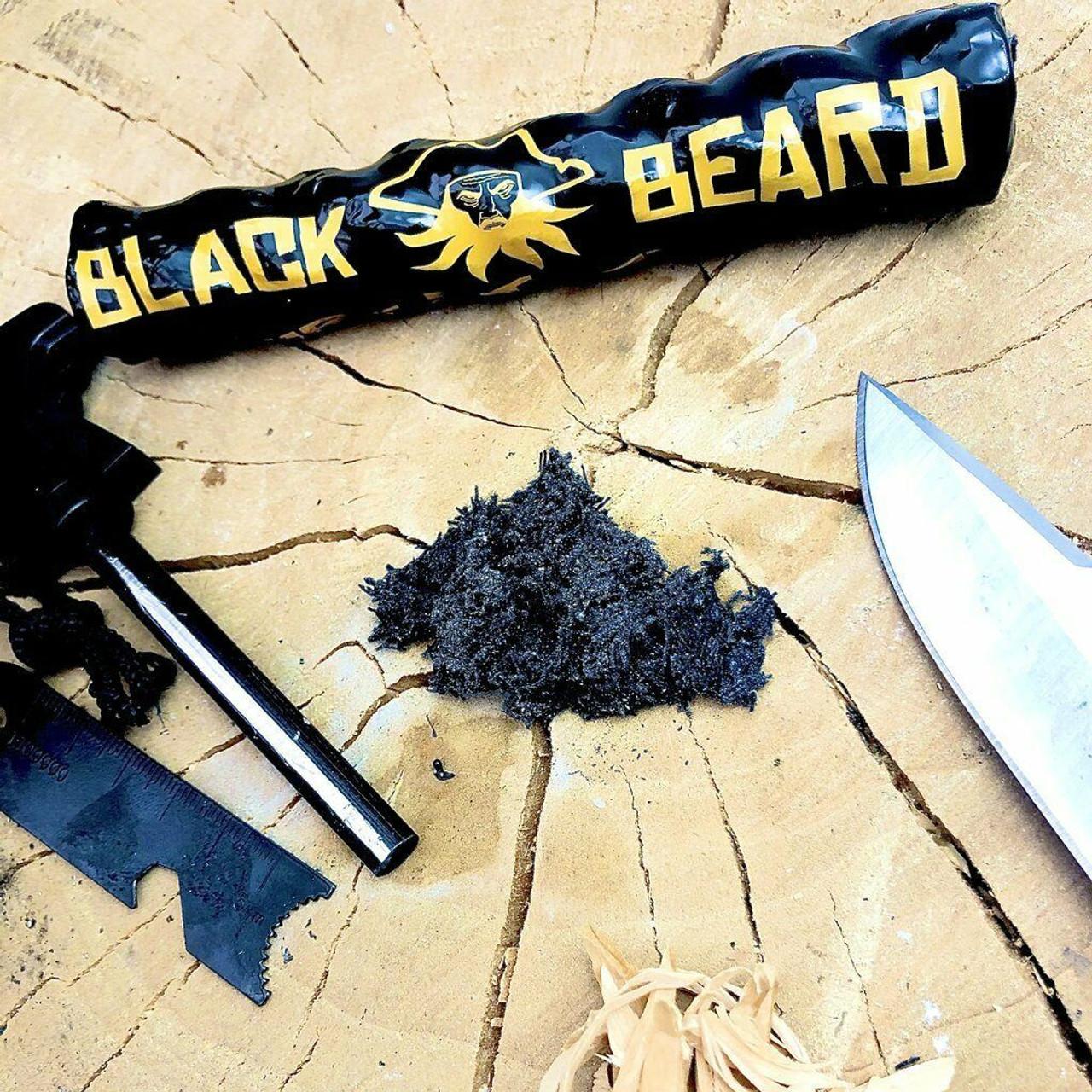 BLACKBEARD FIRE STARTER ROPE SURVIVAL TINDER WEATHERPROOF MADE IN USA 50+ FIRES