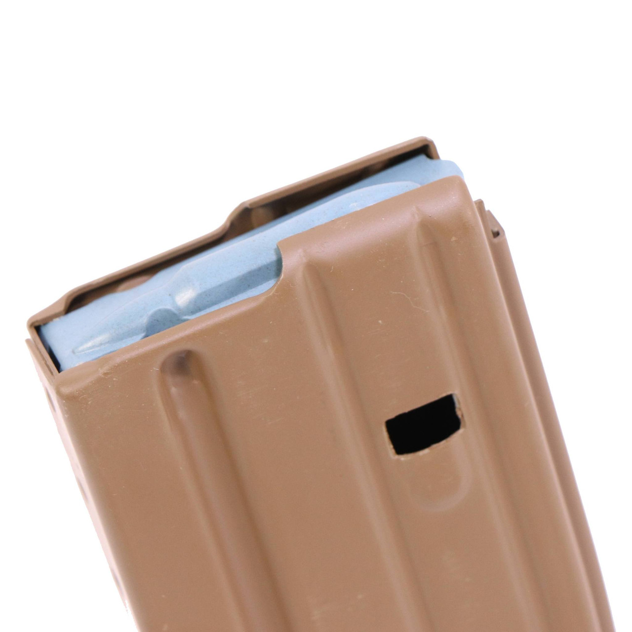 USGI ENHANCED PERFORMANCE EPM 30-ROUND AR/M4 BLUE FOLLOWER MAGAZINE BROWN ALUMINUM MAG