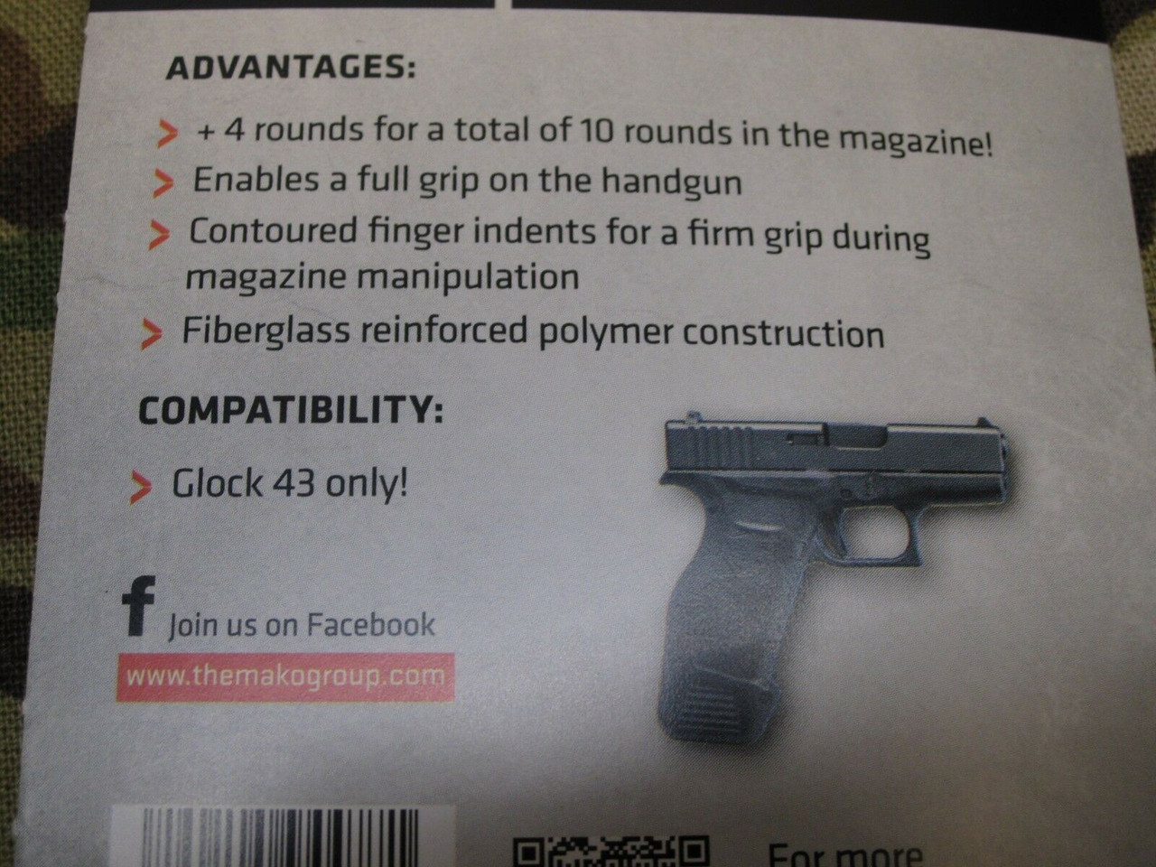 GLOCK 43 MAGAZINE EXTENSION +4 ROUNDS MAG EXTENDER HOLD 10 CAPACITY BASE PLATE