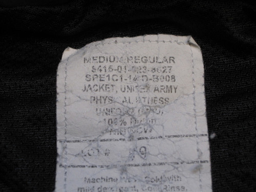 US ARMY BLACK/YELLOW PT JACKET COLD WEATHER UNIFORM MEDIUM/REGULAR b3