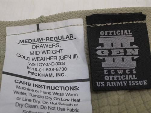 ARMY DESERT TAN GEN III BASE LAYER WAFFLE GRID FLEECE PANTS MED/REG b3
