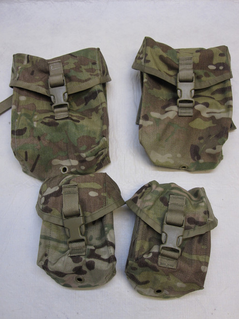 ARMY OCP MULTICAM SAW GUNNERS MOLLE POUCH SET (2) 100 RND & (2) 200 RND cO