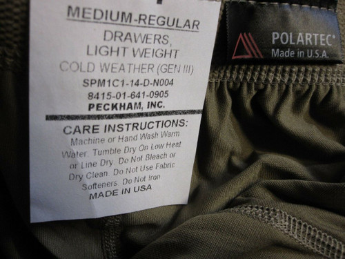 GEN III ARMY OCP SILK-WEIGHT LEVEL 1 TROUSER BOTTOM MEDIUM/REGULAR DRAWERS C0
