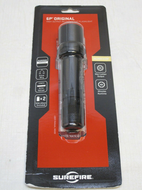 NEW SUREFIRE ORIGINAL CLASSIC 6P INCANDESCENT 65 LUMEN HANDHELD FLASHLIGHT XENON