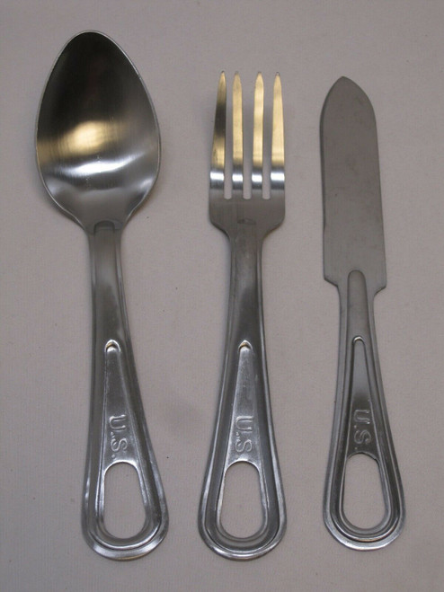 NEW USGI MESS KIT SILVERWARE SET SPOON KNIFE FORK UTENSILS STAINLESS STEEL