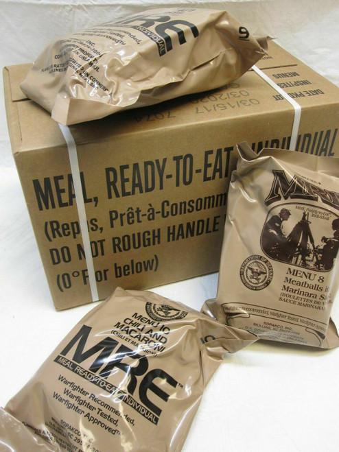 (1) CASE MEALS READY TO EAT MRE CASE A MENU 1-12 MREs FOOD RATIONS INSP 2021