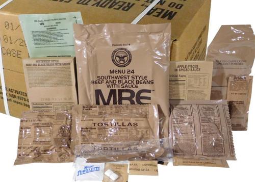(1) CASE MEALS READY TO EAT MRE CASE B MENU 13-24 MREs FOOD RATIONS INSP 2021