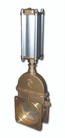 MZ Brass Piston Valve Flange x Flange w/ Air Cylinder