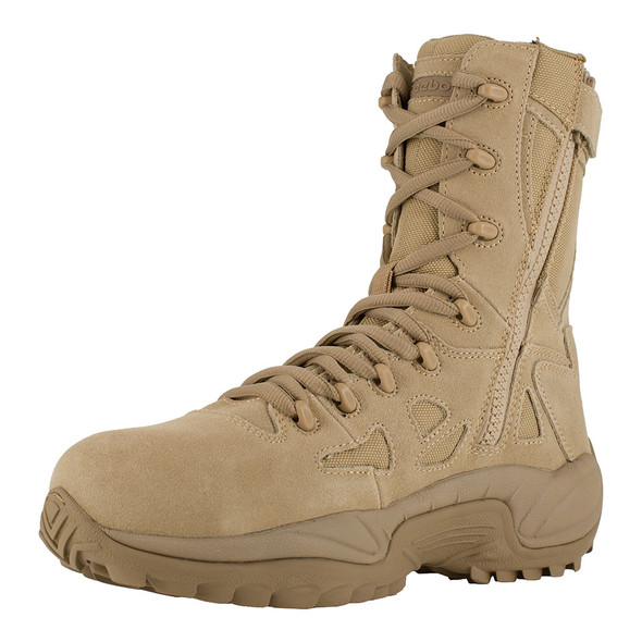 "Reebok Women's 8"" Tan Rapid Response RB Composite Toe Side Zip Boots RB894"