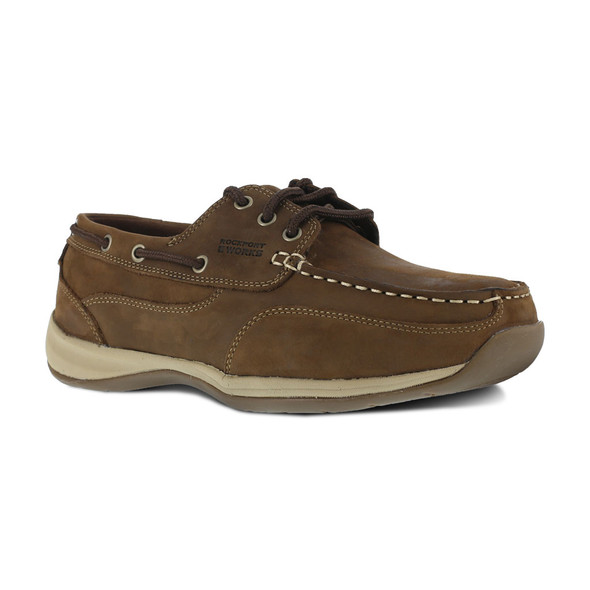 Rockport Works Women's Sailing Club 3 Eye Tie Steel Toe Boat Shoe RK676