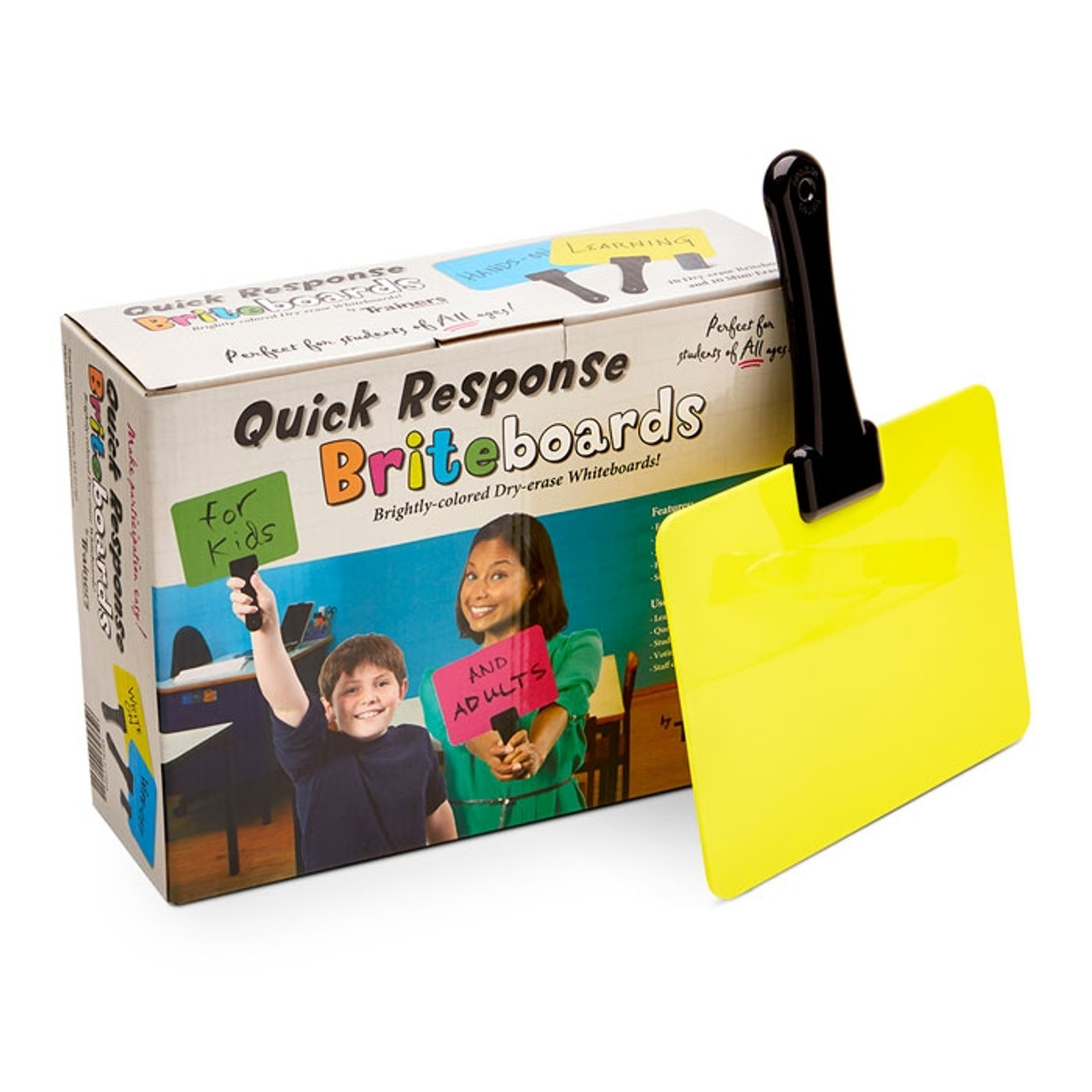 Briteboards Dry-erase Fluorescent Response Boards with mini-erasers set of 10