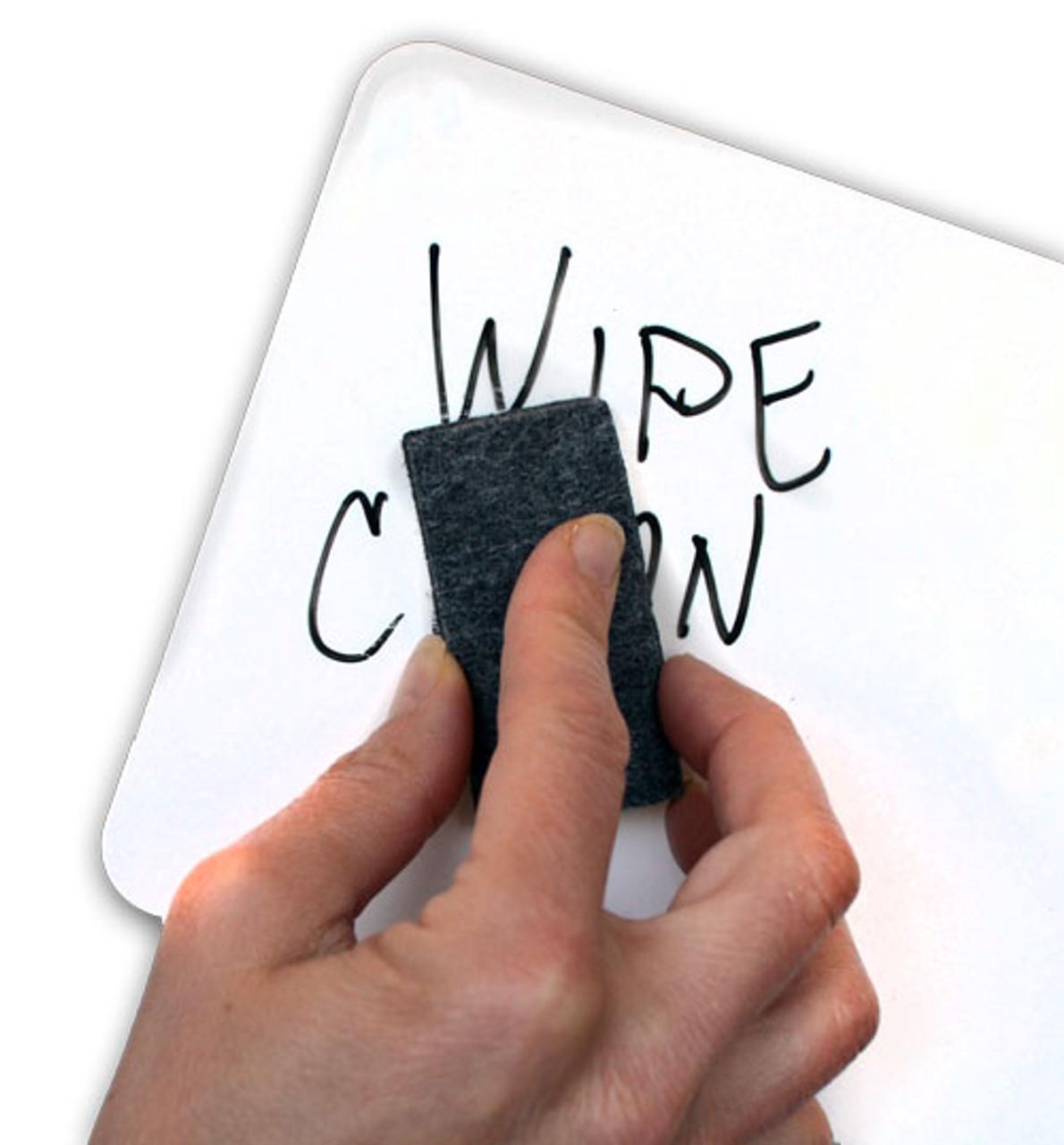 Person using Briteboard mini-erasers