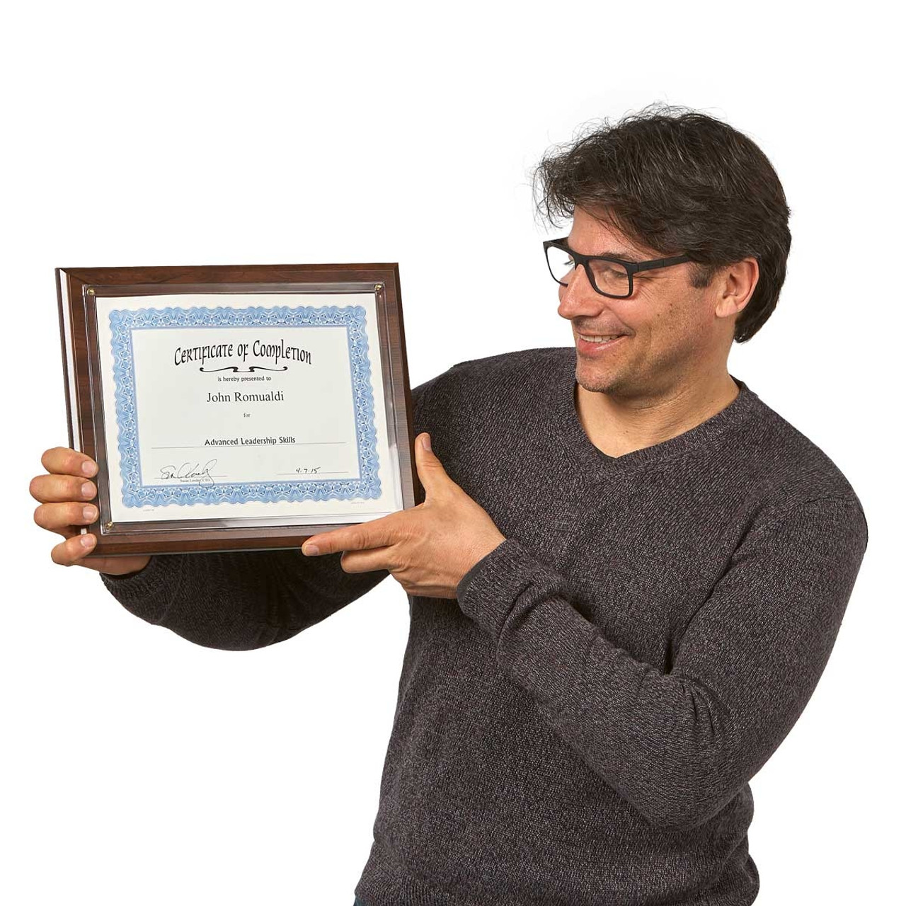 Man holding Certificate Plaque